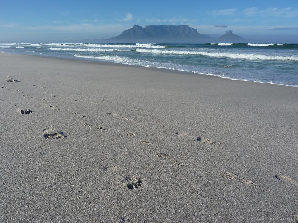 Fusspuren Traumstrand Kapstadt
