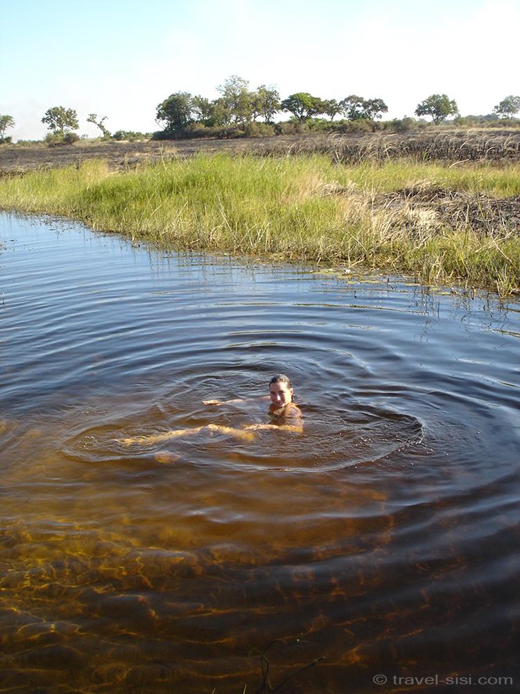 Travel Sisi badet im Okavango Delta Botswana