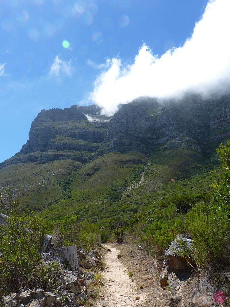 Blick vom Pipe Track auf den Tafelberg in Kapstadt
