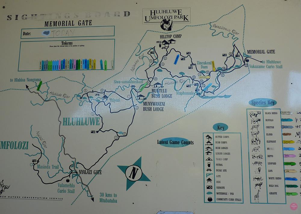Sightings Board Nationalpark Südafrika