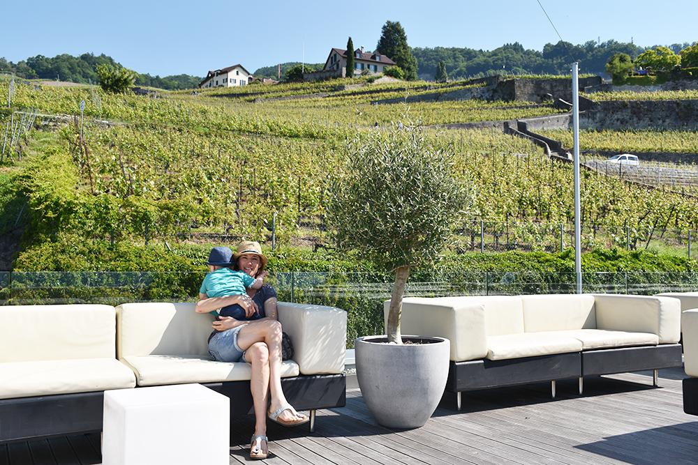 Hotel Lavaux Panoramaterrasse mit Blick auf die Weinterrassen von Lavaux