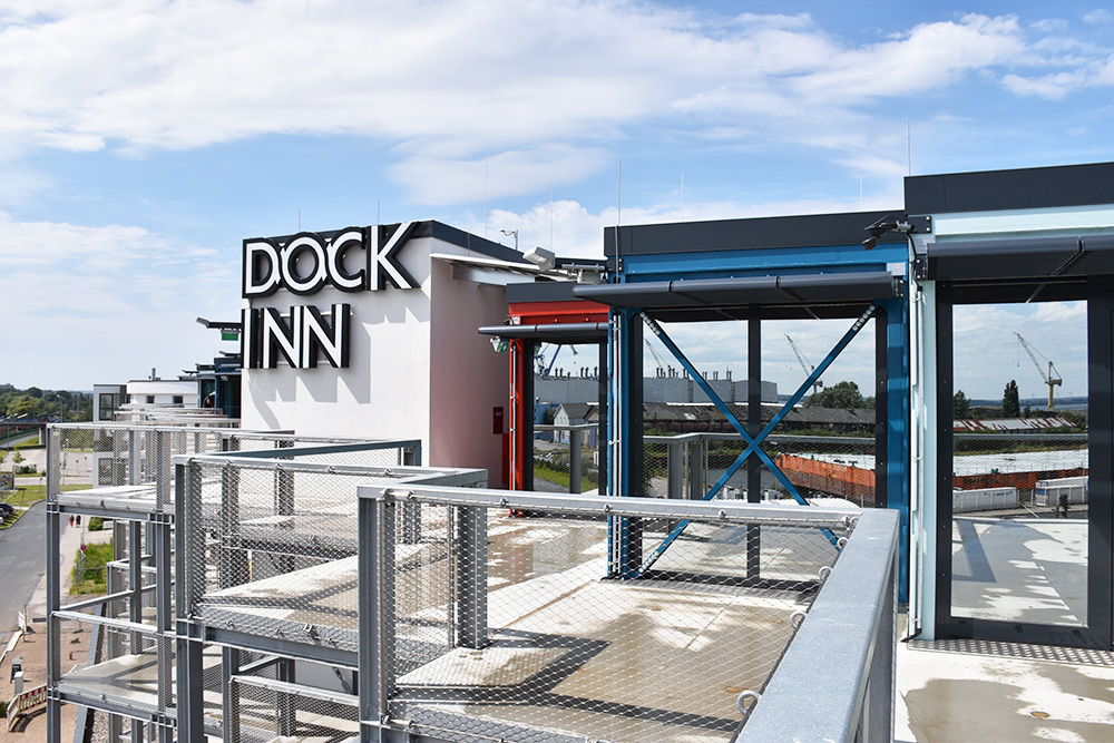 Dock Inn Warnemünde Terrasse in der 5. Etage
