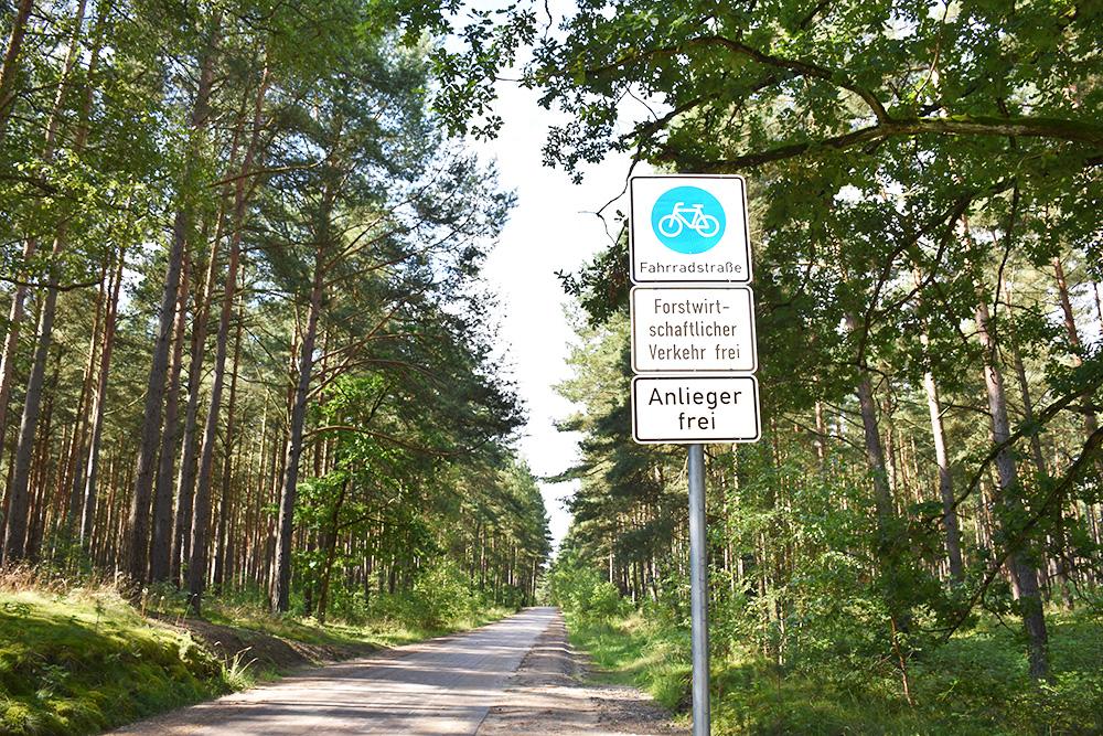 Radtour Müritz Nationalpark Fahrradschild