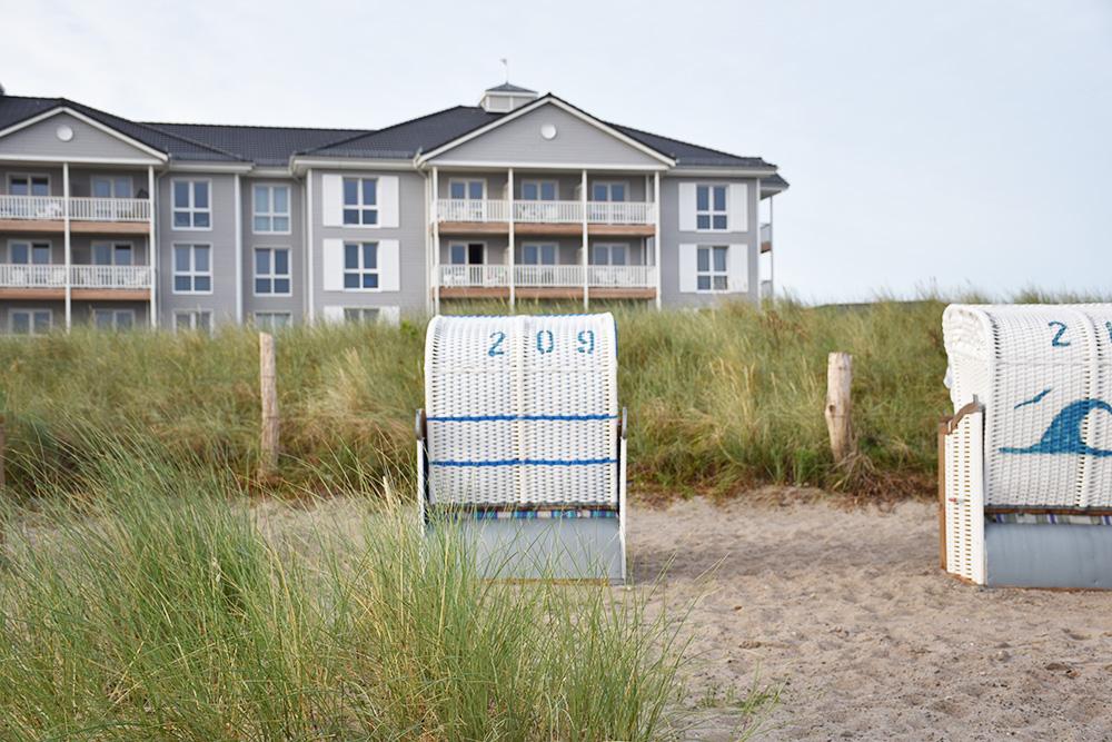 Beach Motel Heiligenhafen Blick vom Beach aufs Hotel