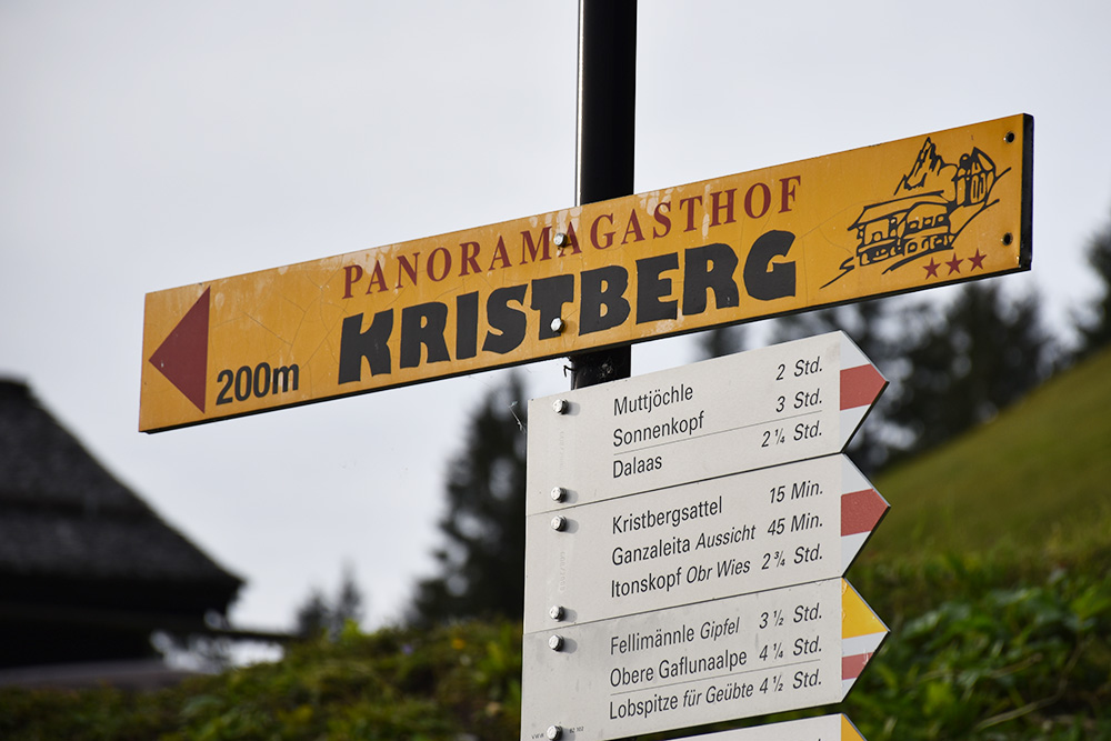 Panoramagasthof Kristberg Wegweiser 200m