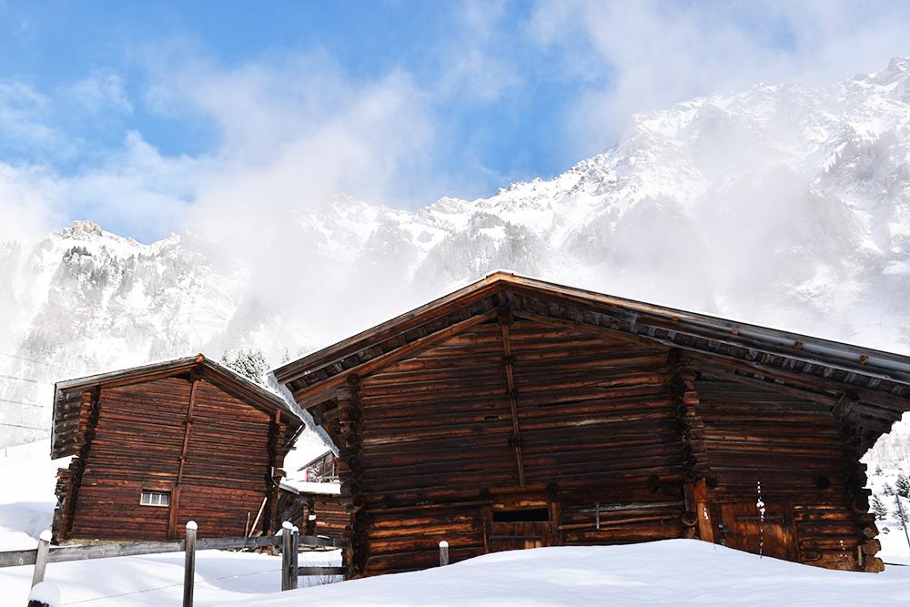Reisetipps Wengen unterwegs mit Jack Daniel's in der Jungfrauregion Chalets auf der Winterwanderung