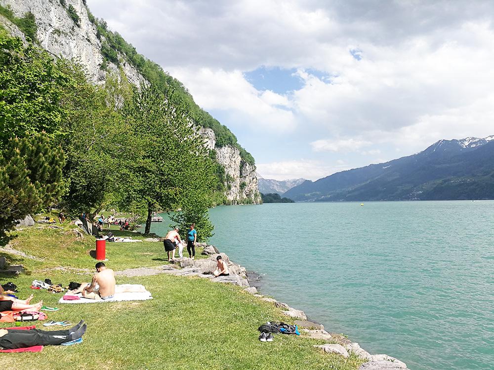 Badestellen am Walensee Liegewiese Lago Mio