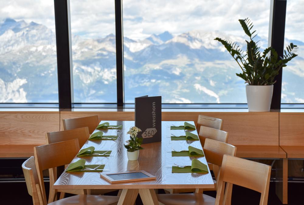 Familienausflug Arosa Bärenland 360 Grad Panoramarestaurant Weisshorngipfel