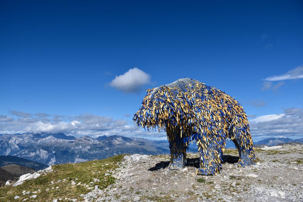 Familienausflug Arosa Bärenland Bär auf dem Weisshorngipfel