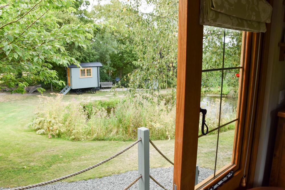Glamping Welshpool Powys Wales Aussicht Shepherds Hut
