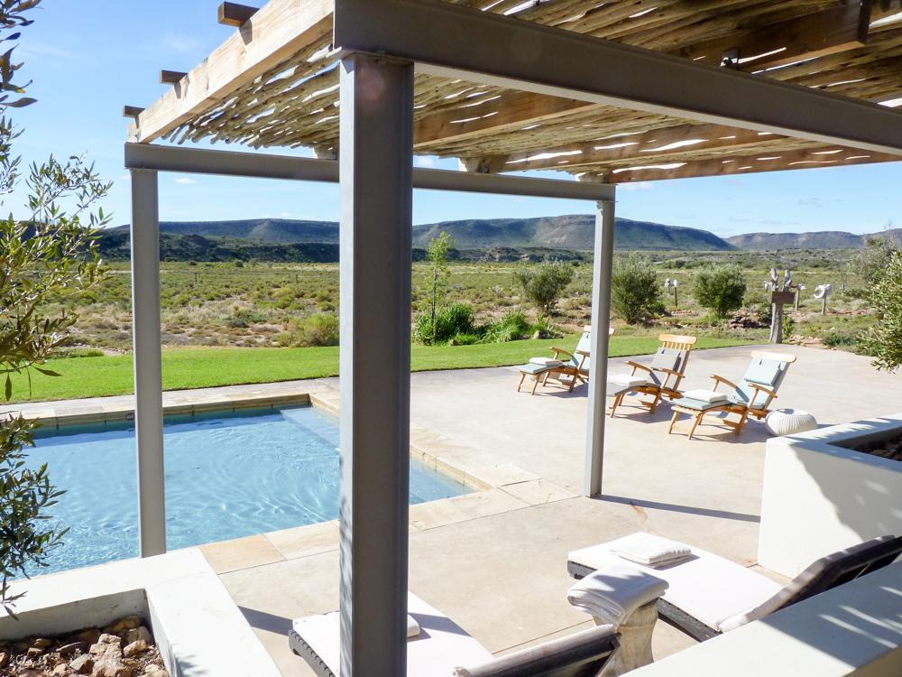 Unterkunftstipps Südafrika Kapstadt Garden Route Sanbona Wildlife Reserve Pool mit Aussicht