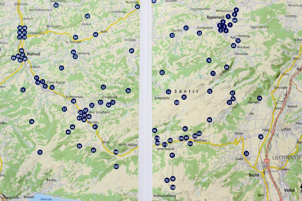 111 Orte rund um den Säntis Buch Übersichtskarte mit allen Tipps