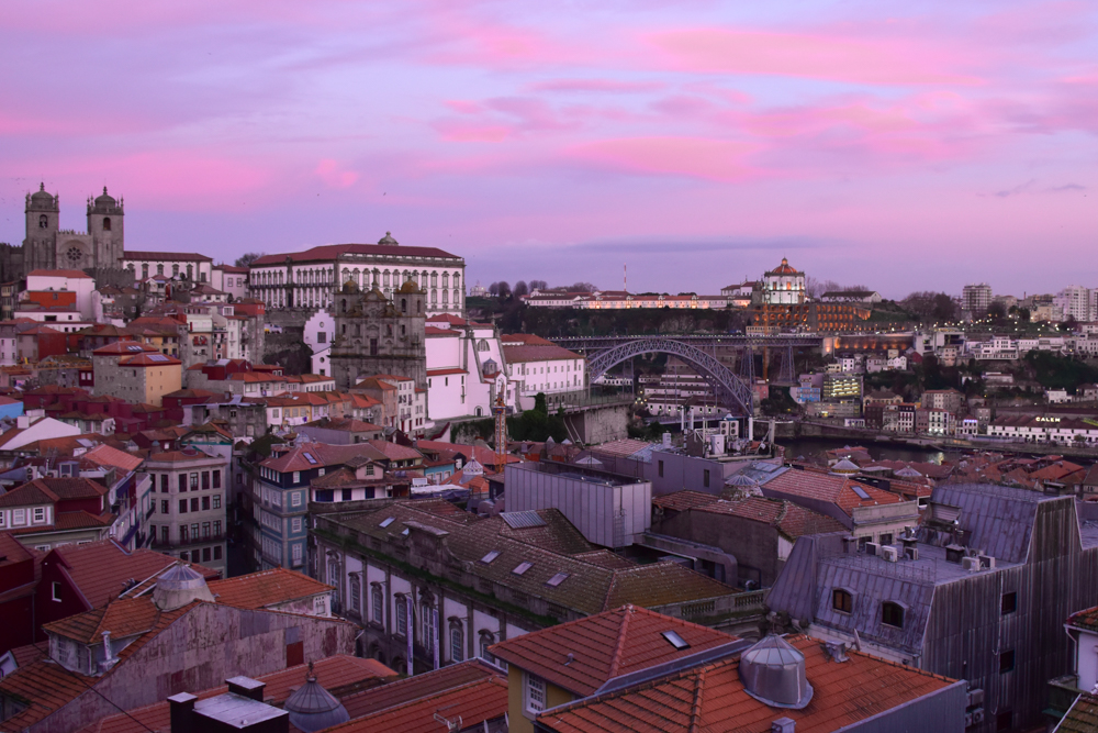 Porto Fahrradtour ans Meer Sonnenuntergang über Porto