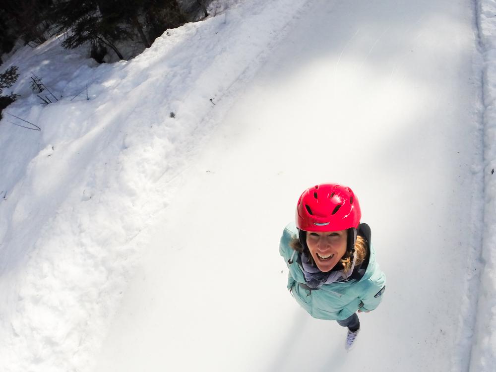 Winterferien Savognin Bivio Albula mit der Familie Travel Sisi auf der Skateline Albula