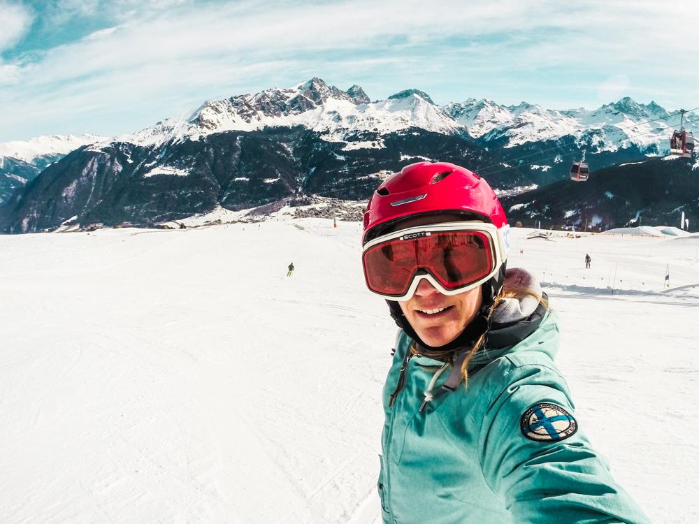 Winterferien Savognin Bivio Albula Travel Sisi auf der Skipiste