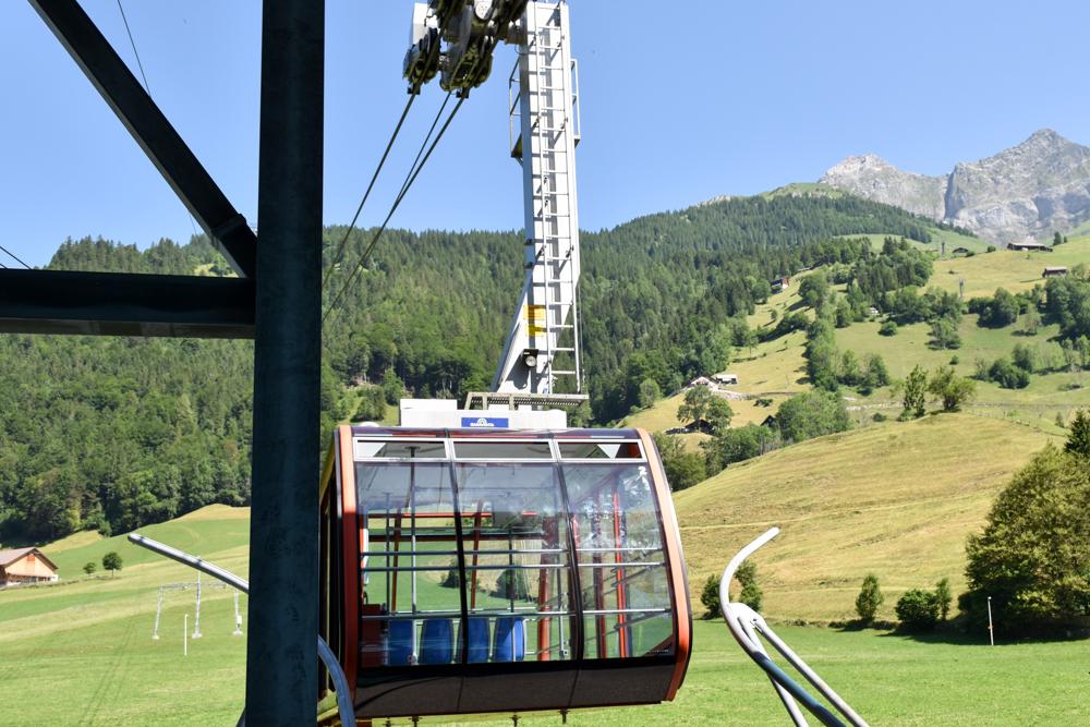 Familienausflug Engelberg Brunni Schweiz Gondelbahn nach Ristis