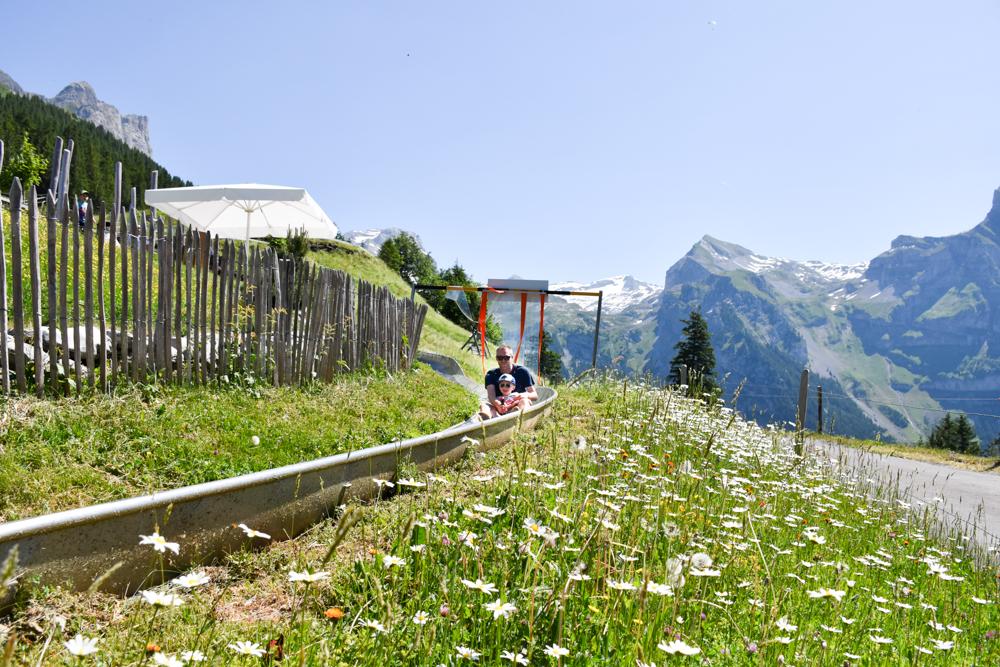 Familienausflug Engelberg Brunni Schweiz Sommerrodelbahn