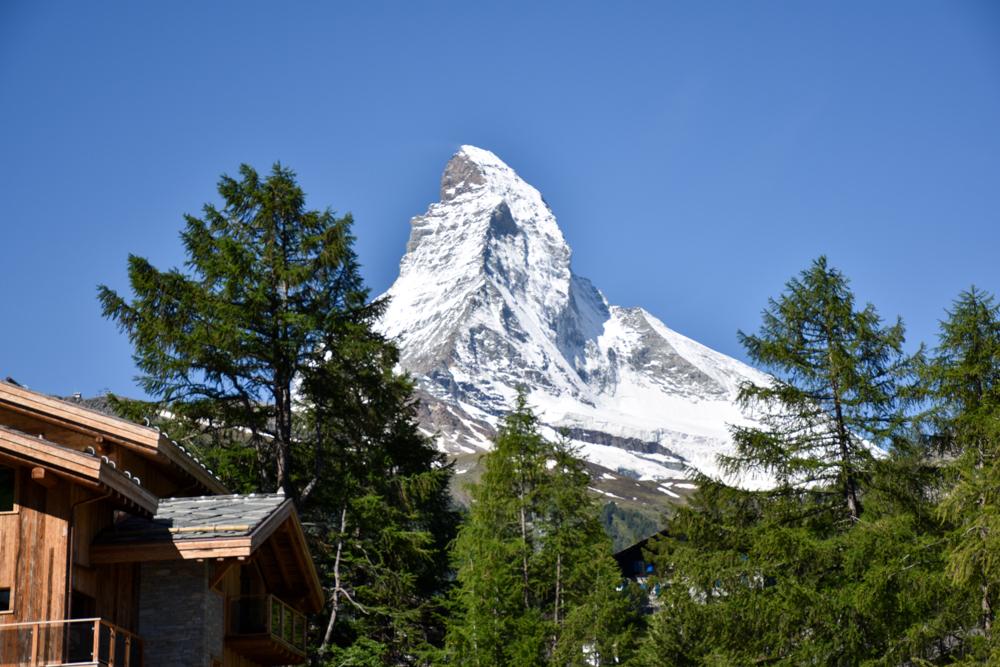 Familienweekend Zermatt Wallis Schweiz Matterhorn im Sonnenschein