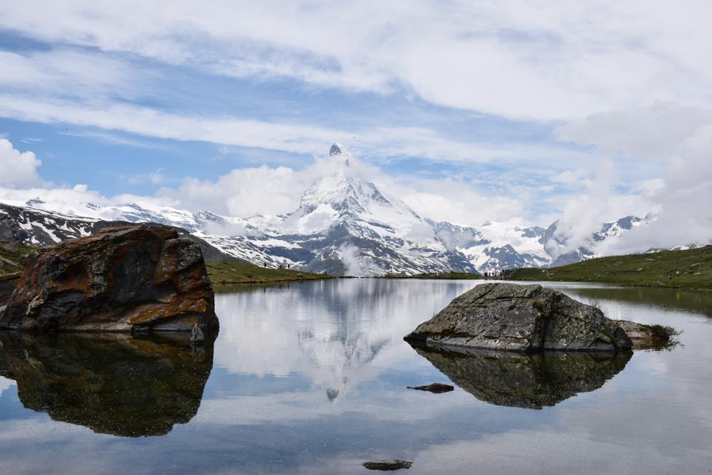 Familienweekend Zermatt Wallis Schweiz Spiegelung vom Matterhorn im Stellisee
