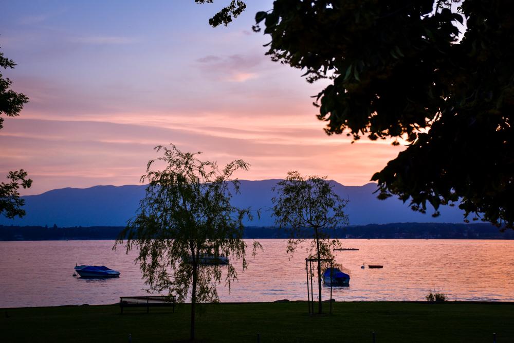 Biwak Glamping TCS Campingplatz Genf Sonnenuntergang