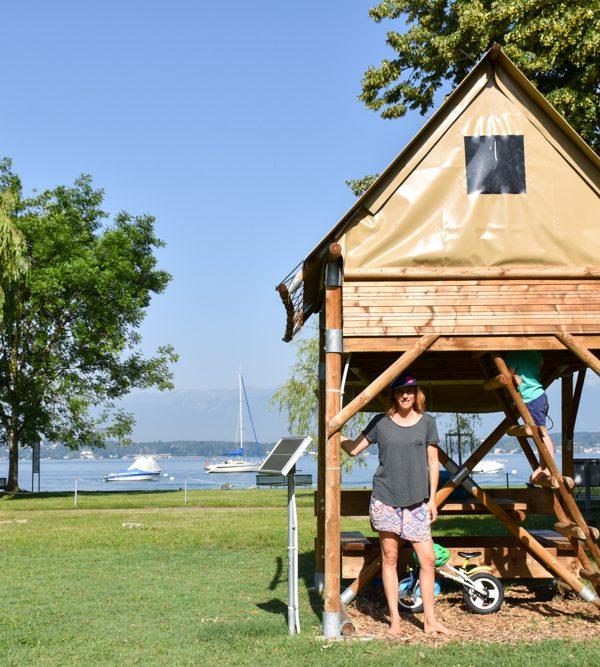 Glamping Genf Schweiz: Im Biwak übernachten auf dem TCS Campingplatz