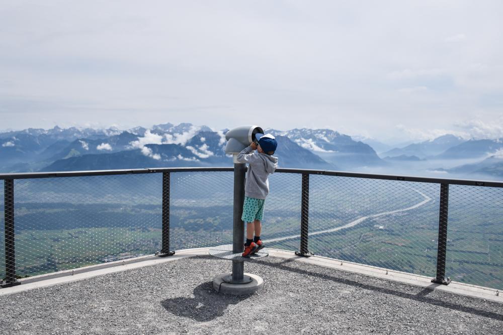 Familienausflug Hoher Kasten Appenzell Schweiz Aussicht Europa-Rundweg
