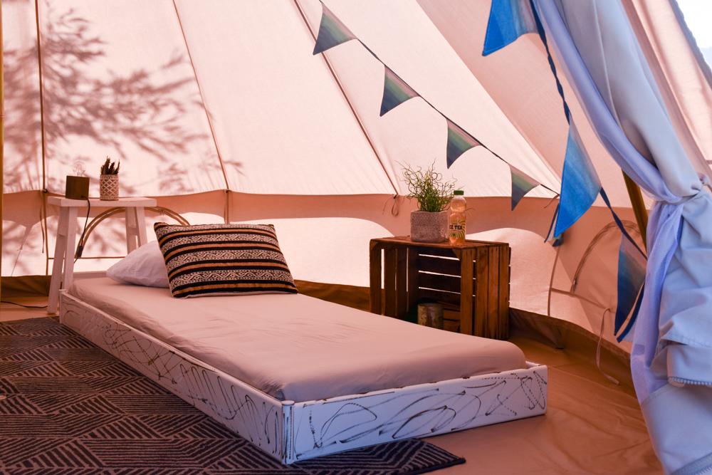 Glamping Buochs Vierwaldstättersee Schweiz TCS Campingplatz Einzelbett