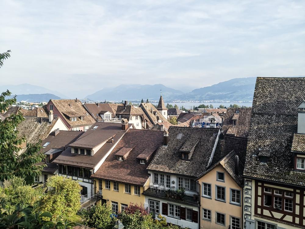 Unterkunft Rapperswil Schweiz Hotel Jakob Blick vom Schloss Rapperswil