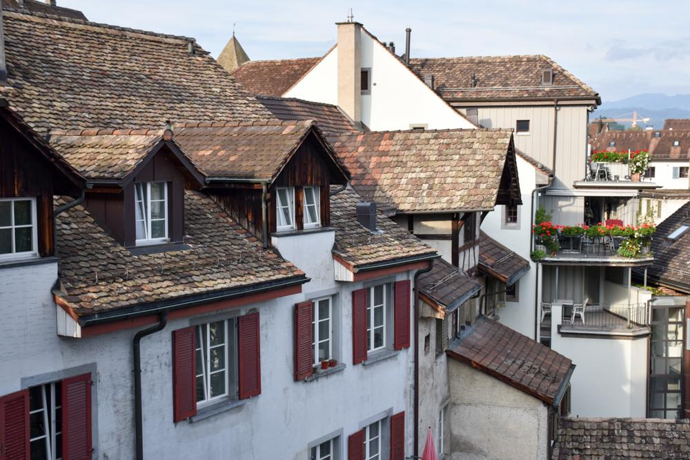 Unterkunft Rapperswil Schweiz Hotel Jakok Blick vom Zimmer auf die Altstadt