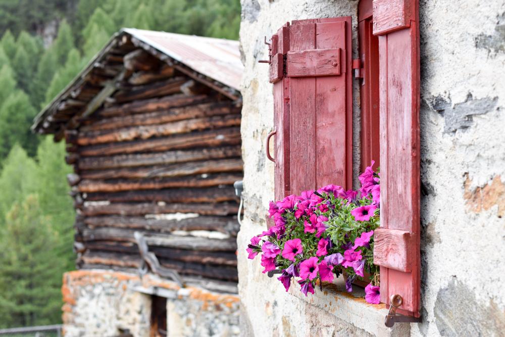 Weekend in der Valposchiavo Graubünden Schweiz Ristoro Alpe Campo Fenster und Stall