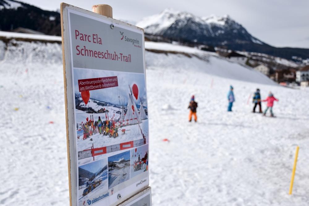 Winter Weekend Savognin Graubünden Schweiz Kinder-Winterfest Schneeschuhlaufen
