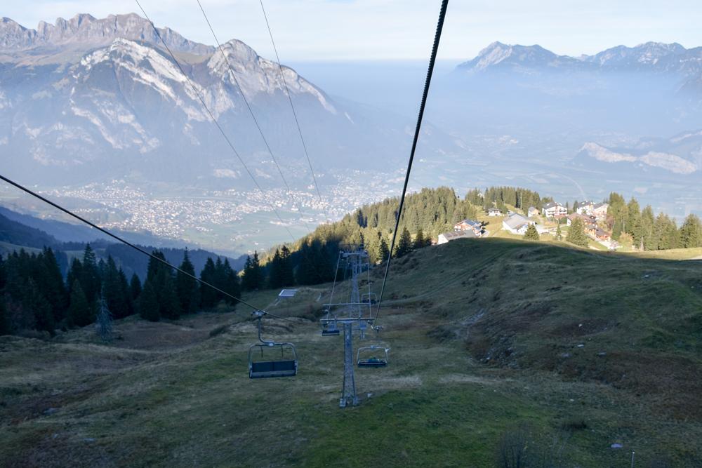 5-Seen-Wanderung Pizol Heidiland St. Gallen Schweiz Rückfahrt in drei Sektionen zurück ins Rheintal