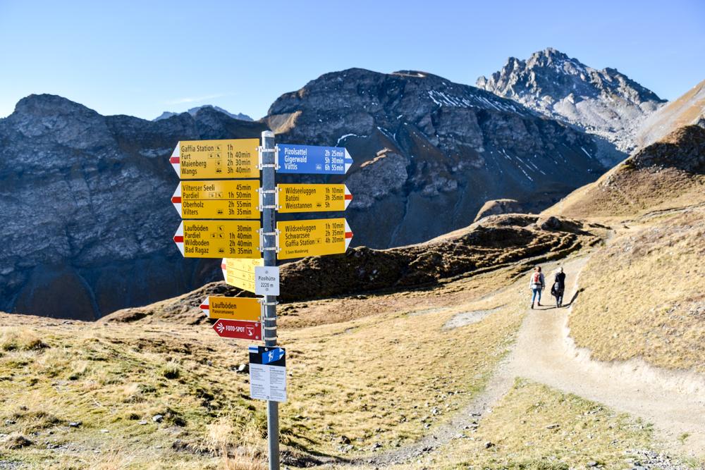 5-Seen-Wanderung Pizol Heidiland St. Gallen Schweiz Start der Wanderung