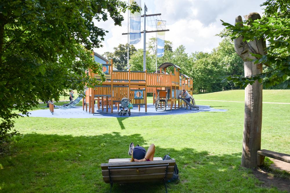Familienfreundliche Fahrradtour Thurgau Bodensee Piratenschiff Seeburgpark