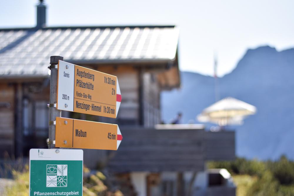 Wanderung Liechtenstein Fürstin-Gina-Weg Pfälzerhütte Ausgangspunkt Sareis Malbun