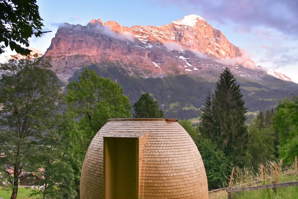 Unterkunft Berner Oberland Schweiz Bienenkorb Jugendherberge Grindelwald Sonnenuntergang
