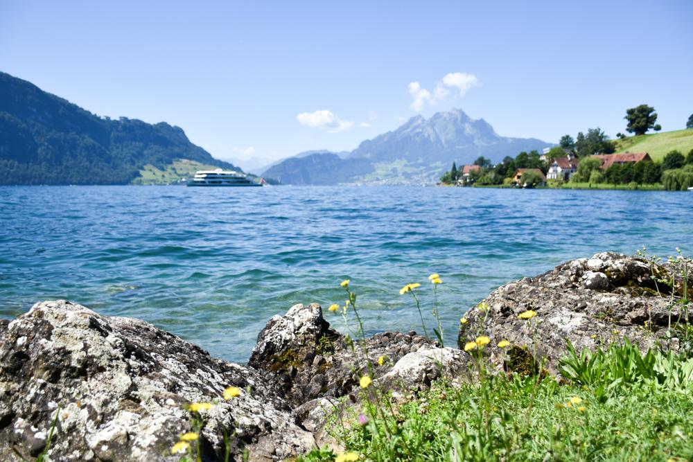 Unterkunft Weggis Vierwaldstättersee Schweiz Wanderlust Guesthouse unser Badeplatz am See