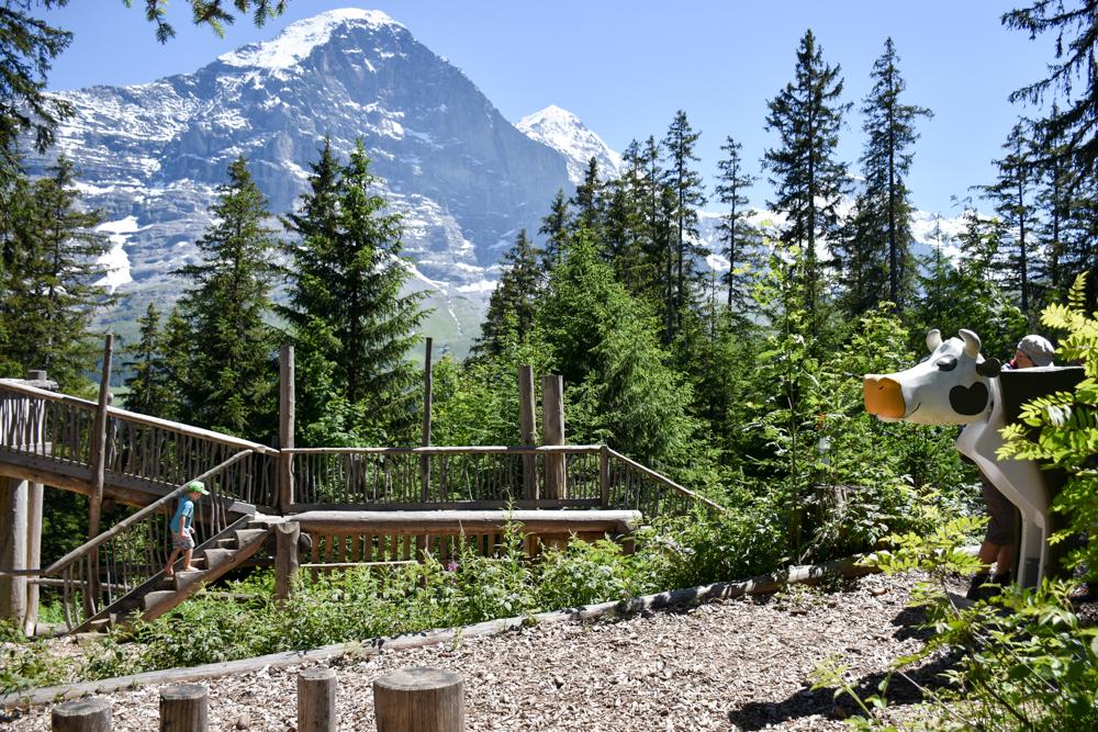 Familienausflug Lieselotteweg Männlichen Grindelwald Berner Oberland Schweiz Waldspielplatz