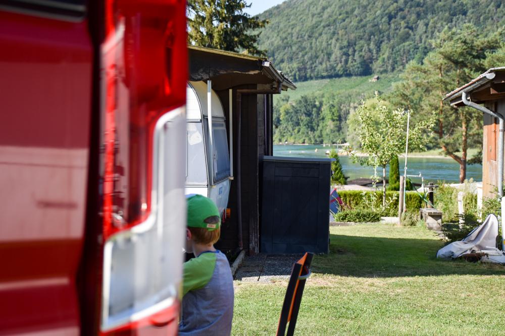 Familienwochenende Schaffhauserland Schweiz Stellplatz Campingplatz Wagenhausen
