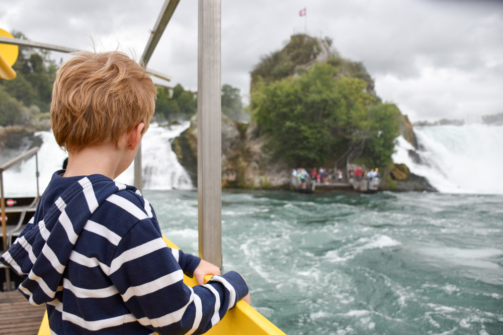 Familienwochenende Schaffhauserland Schweiz Felsenfahrt Rheinfall