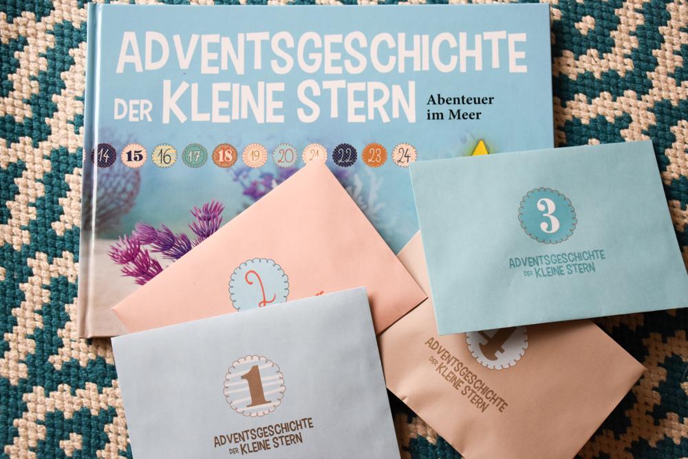 Adventskalender Adventsgeschichte kleiner Stern Buch und Kuverts