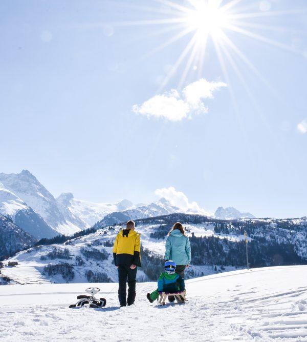 Winterferien Disentis Sedrun Graubünden Schweiz