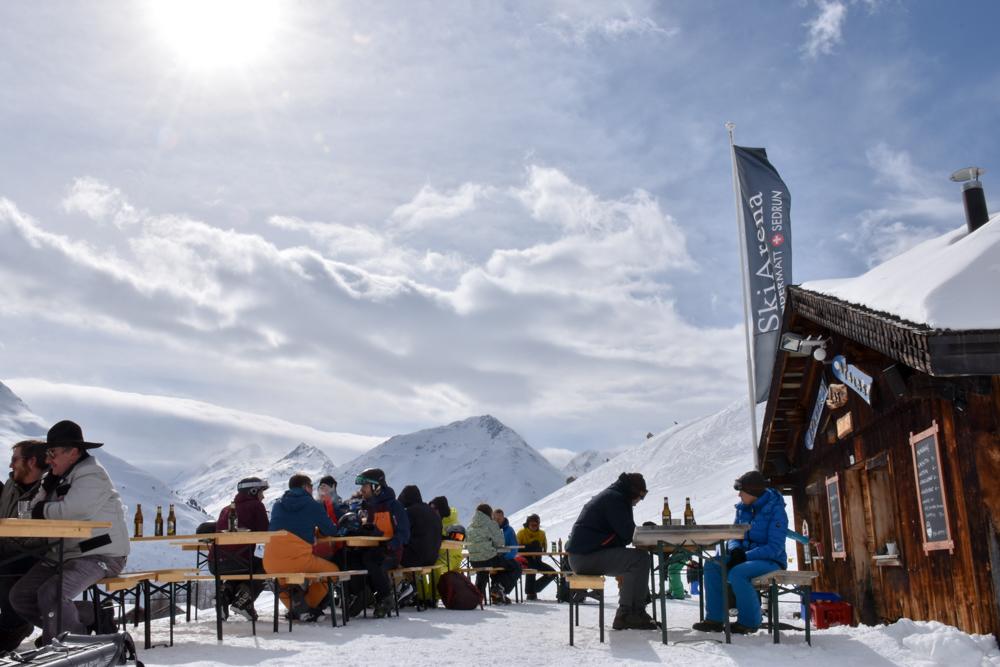 Winterferien Disentis Sedrun Graubünden Schweiz Skihütte Las Palas Sedrun