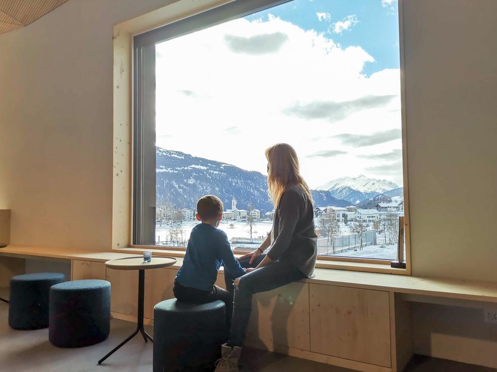 Winterweekend Laax wellnessHostel3000 Graubünden Schweiz Aussicht auf Laax