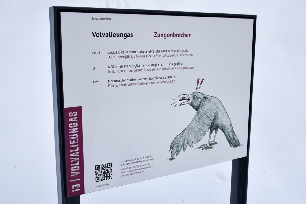 Winterweekend Laax wellnessHostel3000 Graubünden Schweiz Zungenbrecher Romanisch-Lehrpfad