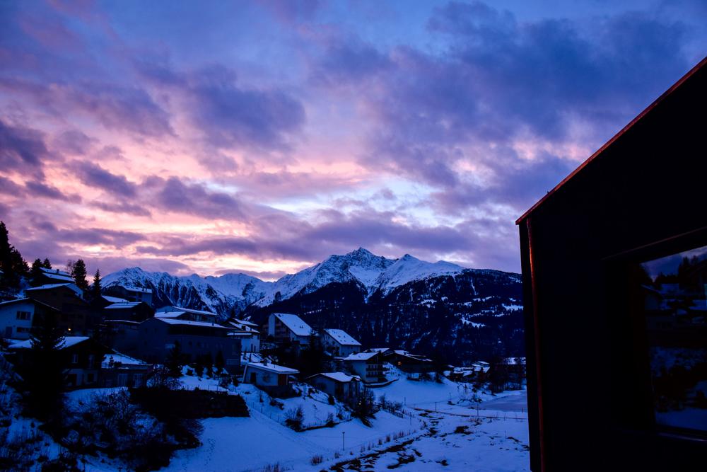 Winterweekend Laax wellnessHostel3000 Graubünden Schweiz Sonnenaufgang