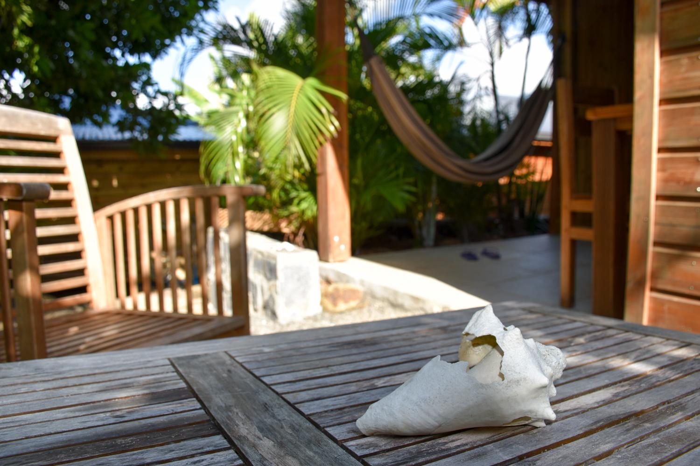 Beste Unterkunft Guadeloupe Grande-Terre Iguana Ecolodge Saint-Francois Terrasse Bungalow