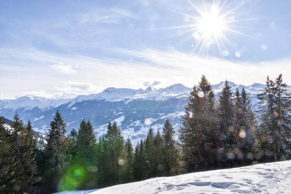 Ausflugstipp Winterwanderung Panoramaweg St. Antönien Pany Prättigau Graubünden Schweiz Panoramablick