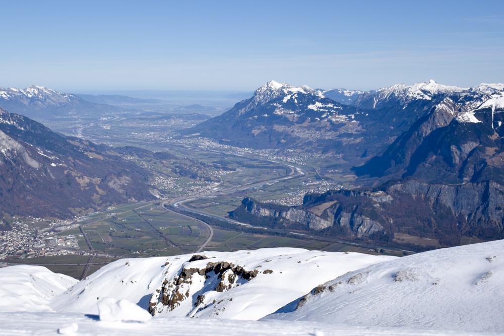 Pizol Panorama Höhenweg Winterwanderung Heidiland Schweiz Aussicht Liechtenstein