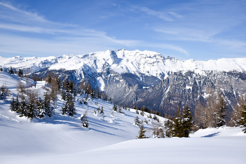 Winterwanderung Rundweg Feldis Viamala Graubünden Schweiz Ausblick auf verschneite Berge